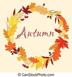 autunno, erbe, cornice, ghiande, foglie