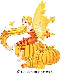 autunno, fata, su, il, zucca