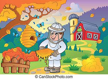 autunno, fattoria, tema, 1