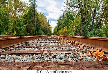 autunno, ferrovia, orizzonte