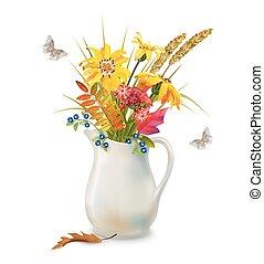 autunno, fiori, brocca