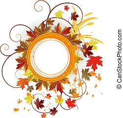 autunno, floreale, grunge, bandiera