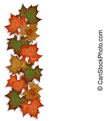 autunno, fogli caduta, bordo