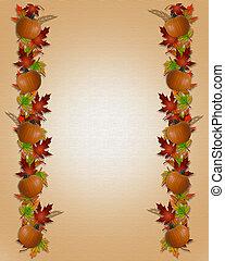 autunno, fogli caduta, bordo, tela