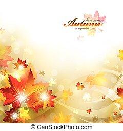 autunno, fondo, con, fogliame