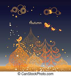 autunno, fondo, con, foglie, e, albero