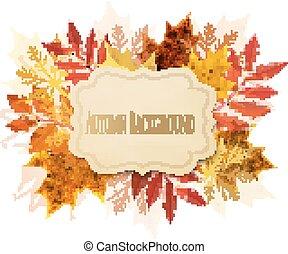 autunno, fondo, con, leaves., vector.