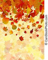 autunno, fondo., foglie, eps, 8