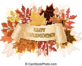 autunno, fondo., ringraziamento, vector., felice