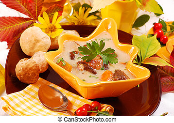 autunno, fungo, minestra, con, crema