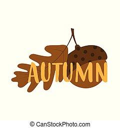 autunno, ghianda, vettore, scheda