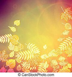 autunno, giallo, leaves., colorito, rosso