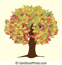 autunno, grande, foglie, yellowed, albero