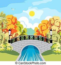 autunno, idilliaco, parco, solare