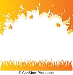 autunno, indietro, mette foglie