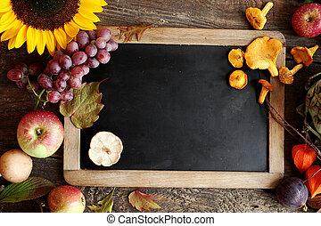 autunno, ingredienti cucinare, con, uno, vendemmia, ardesia