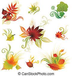 autunno, lea, set, vettore, colorito