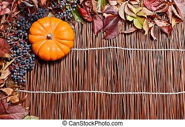autunno, legno, foglie, sopra, backgroun
