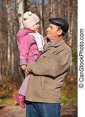 autunno, legno, mani, nipote, nonno