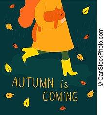 autunno, lei, braccia, gatto giallo, puddle., attraverso, illustrazione, stivali, camminare, ragazza, rosso