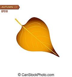 autunno, lilla, foglia, isolato, su, uno, bianco, fondo., vettore, illustrazione