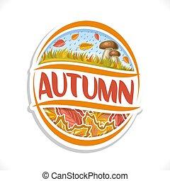 autunno, logotipo, vettore, stagione