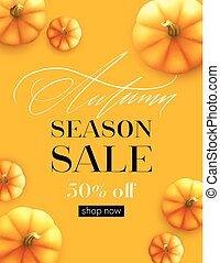 autunno, manifesto, pumpkin., sale., vettore, disegno, illustrazione, cadere, bandiera