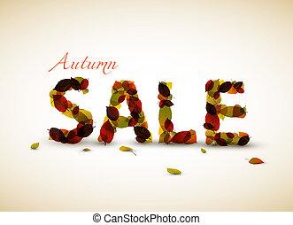 autunno, manifesto, vettore, vendita