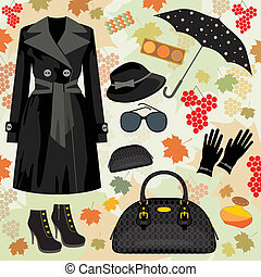 autunno, moda, set