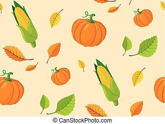 autunno, modello, foglie, seamless, pumpkins.