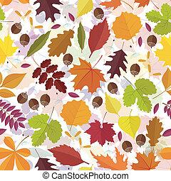 autunno, modello, foglie, seamless