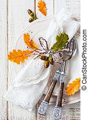 autunno, montaggio tavola