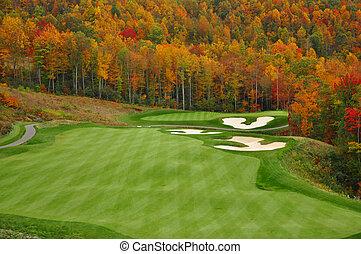 autunno, montagna, campo golf