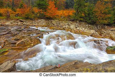 autunno, montagna, fiume, roccioso