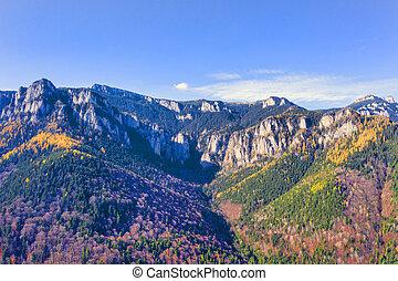 autunno, montagna, roccioso, colorare