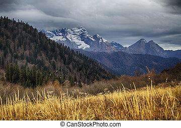 autunno, montagne, caucasus
