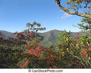 autunno, montagne fumose