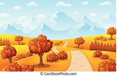autunno, montagne, paesaggio, albero