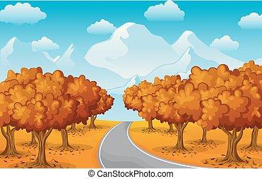 autunno, montagne, paesaggio, foresta, albero