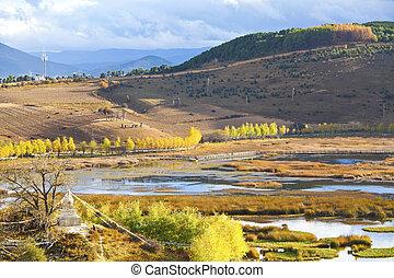 autunno, montagne, paesaggio