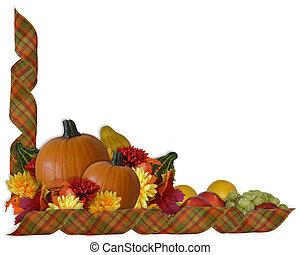 autunno, nastri, bordo, ringraziamento, cadere