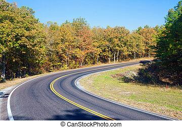 autunno, o, cadere, autostrada