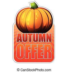 autunno, offerta, zucca, vec, cadere