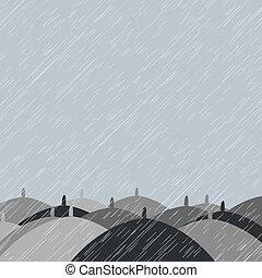 autunno, ombrelli, fondo, pioggia