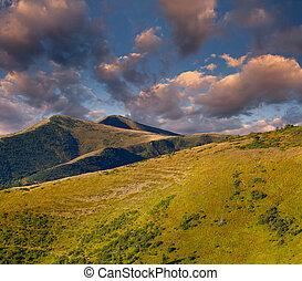 autunno, paesaggio, montagne, alba, colorito