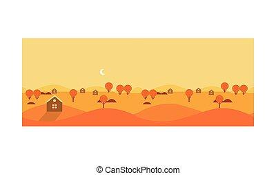 autunno, paesaggio rurale, con, giallo, campi, e, cottage, vettore, illustrazione