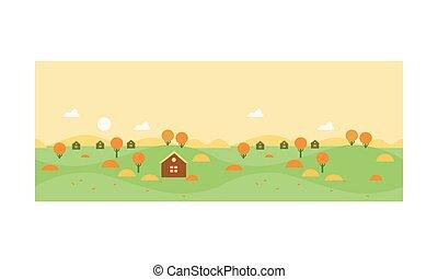 autunno, paesaggio rurale, con, villaggio, case, e, giallo, albero, vettore, illustrazione