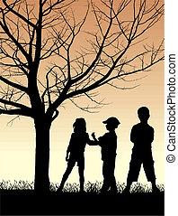 autunno, paese, bambini