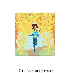 autunno, parco, correndo, ragazza, paesaggio