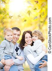 autunno, parco, famiglia, felice